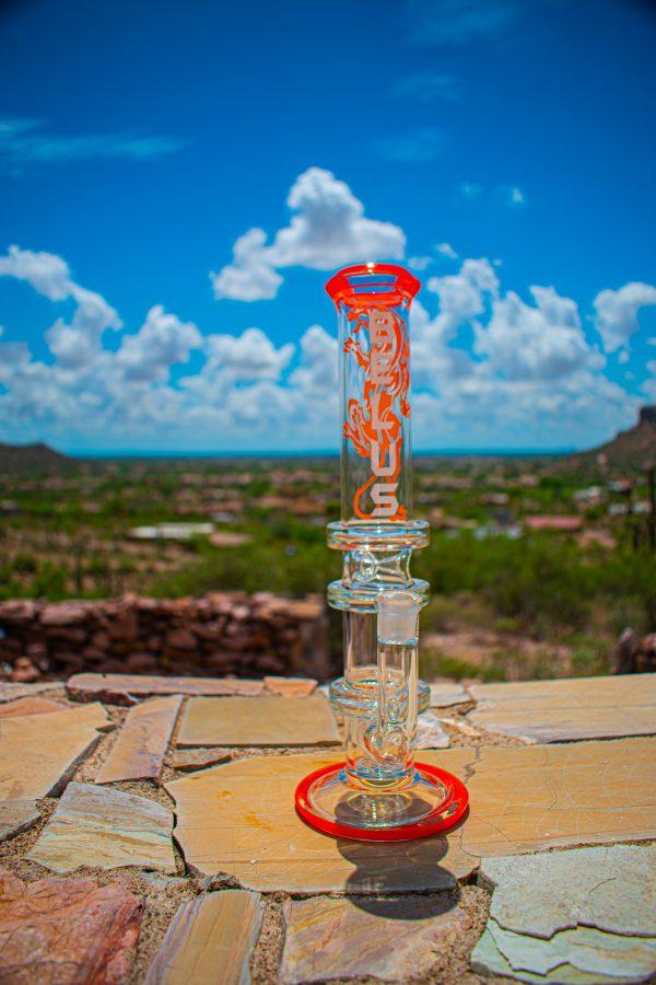 "Belus 12"" Natural Stem Bong Straight Pedestal Base with honeycomb Orange"