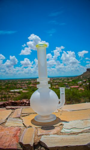"Belus 12"" Natural Stem Bong Bubble Base with Pedestal sandblasted"